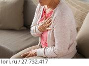 Купить «close up of senior woman having heartache at home», фото № 27732417, снято 20 июня 2017 г. (c) Syda Productions / Фотобанк Лори