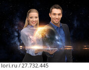 Купить «businesspeople with tablet pc and planets in space», фото № 27732445, снято 17 ноября 2012 г. (c) Syda Productions / Фотобанк Лори