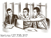Купить «Business partners discussing documents and ideas at meeting. Engraved Vector», фото № 27735317, снято 17 июля 2018 г. (c) PantherMedia / Фотобанк Лори