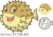 High Quality Puffer Fish Cartoon Character Include Flat Design and Line Art Version Vector Illustration. Стоковая иллюстрация, иллюстратор Rizky Djati Munggaran / PantherMedia / Фотобанк Лори