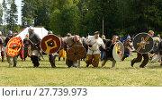 Купить «Viking market in Saltvik. It is considered one of major Viking markets in Scandinavia. Warriors attack», фото № 27739973, снято 25 июля 2013 г. (c) Валерия Попова / Фотобанк Лори