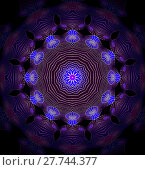 Купить «Abstract geometric seamless background. Shiny concentric circle ornament in violet, dark blue  and purple shades with silver gray outlines on black, centered and blurred.», фото № 27744377, снято 21 октября 2018 г. (c) PantherMedia / Фотобанк Лори