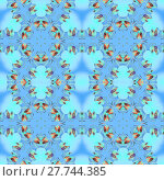 Купить «Abstract geometric seamless background. Regular circle ornaments with spiral elements in orange, brown, turquoise and blue shades.», иллюстрация № 27744385 (c) PantherMedia / Фотобанк Лори
