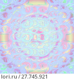 Купить «Abstract geometric seamless multicolored background. Concentric circle pattern in pastel colors with yellow, pink, violet, purple, and aquamarine elements, delicate and dreamy.», фото № 27745921, снято 20 июля 2018 г. (c) PantherMedia / Фотобанк Лори