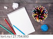 Купить «Office supplies on grayish background», фото № 27754893, снято 19 августа 2018 г. (c) PantherMedia / Фотобанк Лори