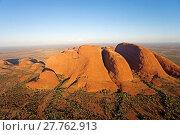 Купить «Aerial photography at dusk. Uluru Kata Tjuta National Park (Olgas). Northern Territory. Australia», фото № 27762913, снято 25 мая 2019 г. (c) age Fotostock / Фотобанк Лори