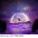 Купить «Boy with angel wings balance on a wire over a chasm riding a bicycle. Self overcoming and risk taking concept. Full moon night background over the clouds», фото № 27795053, снято 23 февраля 2018 г. (c) PantherMedia / Фотобанк Лори