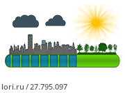 Купить «Environment and ecology concept. Loading bar of city urbanization and pollution against green nature.», фото № 27795097, снято 22 февраля 2019 г. (c) PantherMedia / Фотобанк Лори