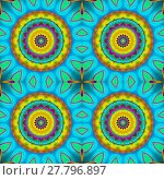 Купить «Abstract geometric multicolored background. Seamless regular concentric circles pattern yellow, orange, violet, light blue and mint green, exotic and conspicuous.», фото № 27796897, снято 22 апреля 2018 г. (c) PantherMedia / Фотобанк Лори