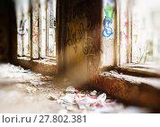 Купить «Horizontal vibrant cyberpunk destroyed room bokeh background bac», фото № 27802381, снято 18 июня 2019 г. (c) PantherMedia / Фотобанк Лори