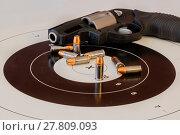 Купить «Gun Ammunition And Target», фото № 27809093, снято 26 мая 2020 г. (c) easy Fotostock / Фотобанк Лори
