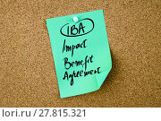Купить «Business Acronym IBA Impact Benefit Agreement», фото № 27815321, снято 23 января 2019 г. (c) PantherMedia / Фотобанк Лори