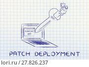 Купить «patch deployment: oversized wrench repairing a computer», фото № 27826237, снято 22 мая 2019 г. (c) PantherMedia / Фотобанк Лори