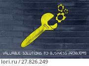 Купить «concept of valuable business solutions, golden wrench fixing a set gearwheels», фото № 27826249, снято 20 августа 2018 г. (c) PantherMedia / Фотобанк Лори
