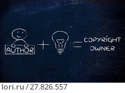 Купить «funny formula of intellectual property or copyright: author plus an idea», фото № 27826557, снято 22 июня 2018 г. (c) PantherMedia / Фотобанк Лори