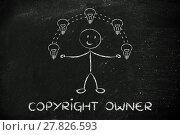 Купить «funny man juggling ideas, concept of intellectual property», фото № 27826593, снято 22 июня 2018 г. (c) PantherMedia / Фотобанк Лори