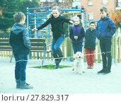 Купить «Children skipping on jumping elastic rope», фото № 27829317, снято 24 февраля 2018 г. (c) Яков Филимонов / Фотобанк Лори