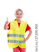 Купить «blond girl with reflective vest», фото № 27830905, снято 18 октября 2019 г. (c) PantherMedia / Фотобанк Лори