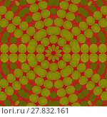Купить «Abstract geometric seamless background. Concentric ornament, star pattern olive green and dark green on dark red.», фото № 27832161, снято 21 октября 2018 г. (c) PantherMedia / Фотобанк Лори