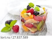 Купить «Healthy fruit salad.», фото № 27837589, снято 14 декабря 2018 г. (c) PantherMedia / Фотобанк Лори