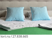 Купить «Double bed in hotel room. Accommodation», фото № 27838665, снято 20 июня 2019 г. (c) PantherMedia / Фотобанк Лори