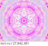 Купить «Abstract geometric seamless background. Centered round star ornament violet, magenta, purple, beige, pink and aquamarine, delicate and extensive.», фото № 27842381, снято 21 марта 2018 г. (c) PantherMedia / Фотобанк Лори