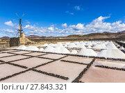 Купить «salt piles in the saline of Janubio in Lanzarote with old toteen wind mill», фото № 27843321, снято 23 марта 2018 г. (c) PantherMedia / Фотобанк Лори