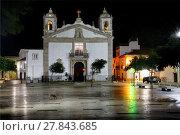 Купить «Historic part of Lagos city at night, Praca Infante Dom Henrique, Igreja de Santa Maria, Algarve, Portugal, Europe», фото № 27843685, снято 22 ноября 2017 г. (c) age Fotostock / Фотобанк Лори