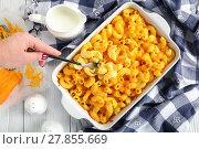 Купить «woman hand is holding a fork with mac & cheese», фото № 27855669, снято 6 февраля 2018 г. (c) Oksana Zh / Фотобанк Лори