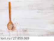 Купить «Raw pink rice in a spoon», фото № 27859069, снято 14 января 2018 г. (c) Елена Блохина / Фотобанк Лори
