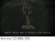 Купить «magnet with the words Great Ideas attracting coins & profits», фото № 27860193, снято 24 апреля 2019 г. (c) PantherMedia / Фотобанк Лори