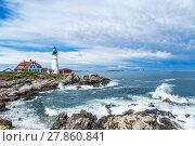 Купить «A view of the Portland Head Light following a summer afternoon rainstorm along the rocky Maine coastline.», фото № 27860841, снято 16 июля 2019 г. (c) PantherMedia / Фотобанк Лори