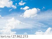Купить «Blue sky background with dramatic white clouds lit by sunlight. Natural sky background», фото № 27862213, снято 12 августа 2016 г. (c) Зезелина Марина / Фотобанк Лори
