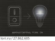 Купить «idea lightbulb with switch on & flare», фото № 27862605, снято 18 марта 2018 г. (c) PantherMedia / Фотобанк Лори