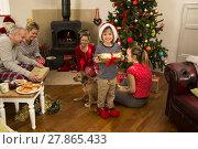 Купить «Family At Christmas», фото № 27865433, снято 20 июля 2019 г. (c) PantherMedia / Фотобанк Лори