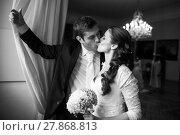 Купить «Beautiful, happy, younf wedding couple in a splendid historic castle environment, walking up the stairs, shining with happiness», фото № 27868813, снято 22 апреля 2019 г. (c) PantherMedia / Фотобанк Лори