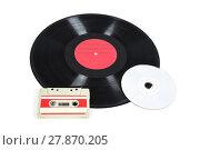 Купить «music storage devices - vinyl record,analog cassette and cd», фото № 27870205, снято 20 января 2019 г. (c) PantherMedia / Фотобанк Лори