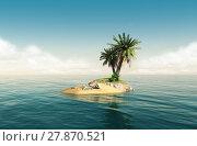 Купить «Small tropical island with skeleton», фото № 27870521, снято 15 ноября 2018 г. (c) PantherMedia / Фотобанк Лори