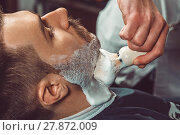 Купить «Hipster client visiting barber shop», фото № 27872009, снято 15 декабря 2018 г. (c) PantherMedia / Фотобанк Лори