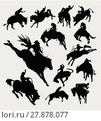 Купить «Rodeo cowboy riding animal silhouettes », иллюстрация № 27878077 (c) PantherMedia / Фотобанк Лори