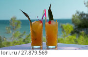 Купить «Two glasses of iced fruit drinks on sea background. Vacation time», видеоролик № 27879569, снято 22 мая 2019 г. (c) Данил Руденко / Фотобанк Лори