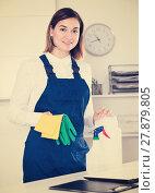Купить «Female cleaner at work», фото № 27879805, снято 29 мая 2020 г. (c) Яков Филимонов / Фотобанк Лори
