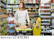 Купить «Woman doing shopping with shopping cart», фото № 27879961, снято 23 ноября 2016 г. (c) Яков Филимонов / Фотобанк Лори