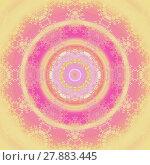 Купить «Abstract geometric seamless background. Concentric circle ornament yellow, orange, pink, magenta and purple, with yellow laces pattern, ornate and dreamy.», фото № 27883445, снято 18 октября 2018 г. (c) PantherMedia / Фотобанк Лори