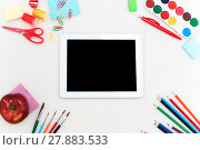 Купить «School set with notebooks, pencils, brush, scissors and apple on white background», фото № 27883533, снято 18 июля 2019 г. (c) PantherMedia / Фотобанк Лори