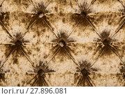 Купить «Golden capitone tufted velvet upholstery texture», фото № 27896081, снято 20 июля 2019 г. (c) PantherMedia / Фотобанк Лори