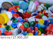 Купить «bunte Flaschenverschlüsse - Recycling», фото № 27900281, снято 27 марта 2019 г. (c) PantherMedia / Фотобанк Лори