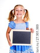Купить «girl with space width showing a little blackboard», фото № 27901989, снято 14 декабря 2018 г. (c) PantherMedia / Фотобанк Лори