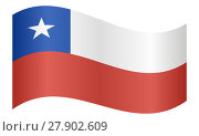 Купить «Flag of Chile waving on white background», фото № 27902609, снято 23 сентября 2018 г. (c) PantherMedia / Фотобанк Лори