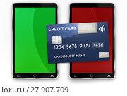 Купить «mobile payment credit card 3d render», фото № 27907709, снято 21 октября 2018 г. (c) PantherMedia / Фотобанк Лори